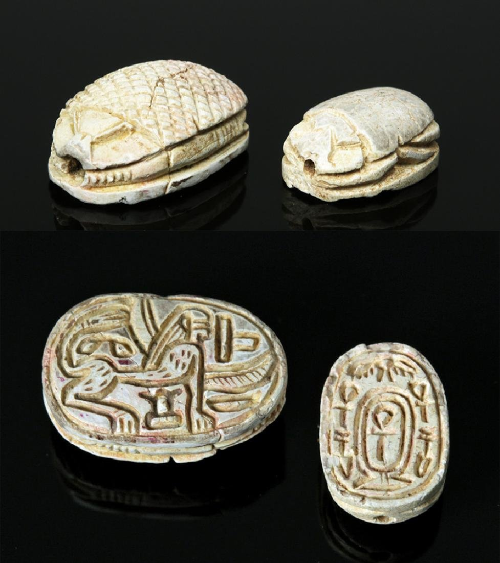 Pair of Superb Egyptian Glazed Steatite Scarabs