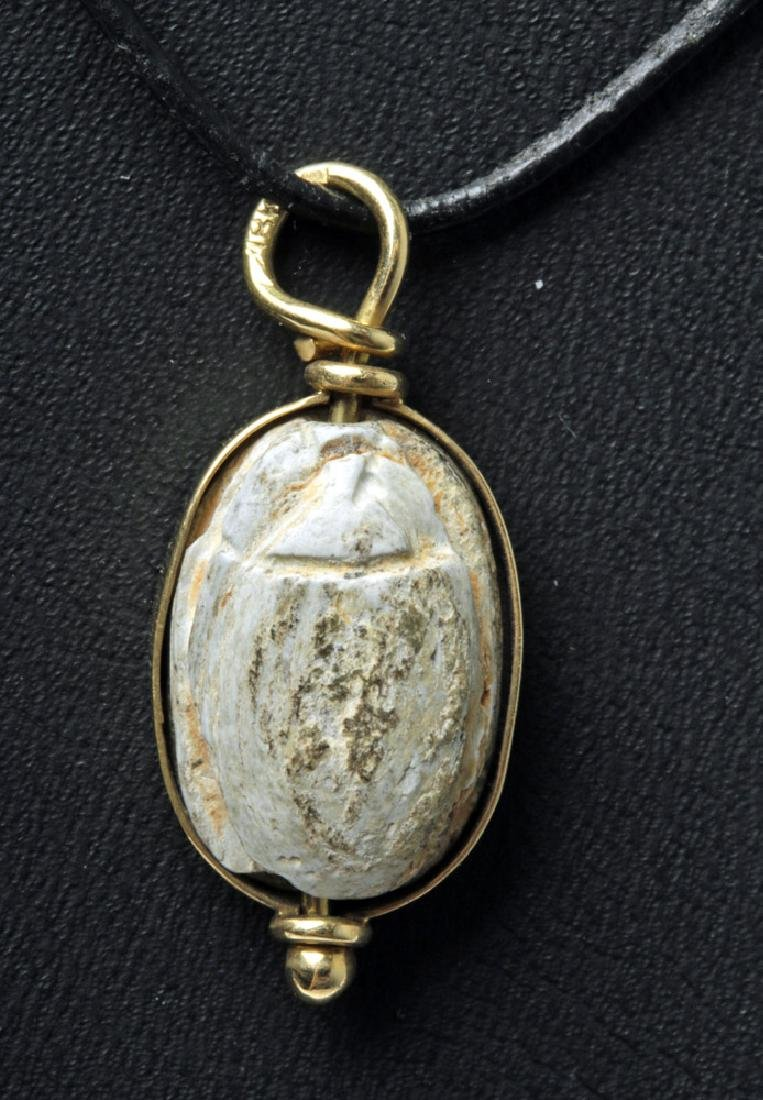 Ancient Egyptian Steatite Scarab in Gold Pendant
