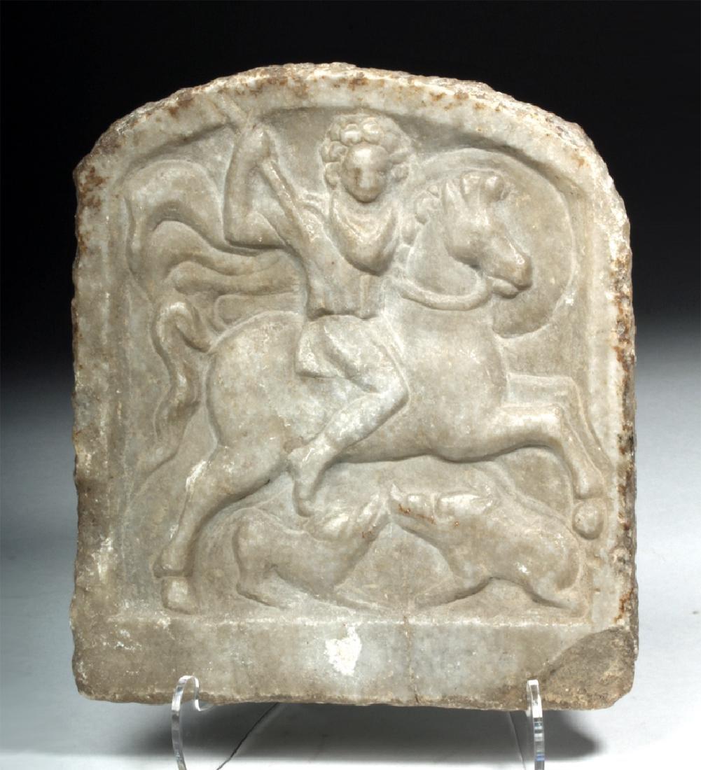 Late Roman / Byzantine Marble Stele - Horseman