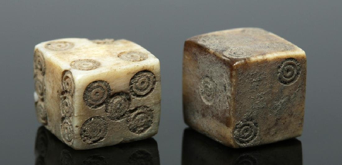 Pair of Roman Bone Gaming Dice - 2