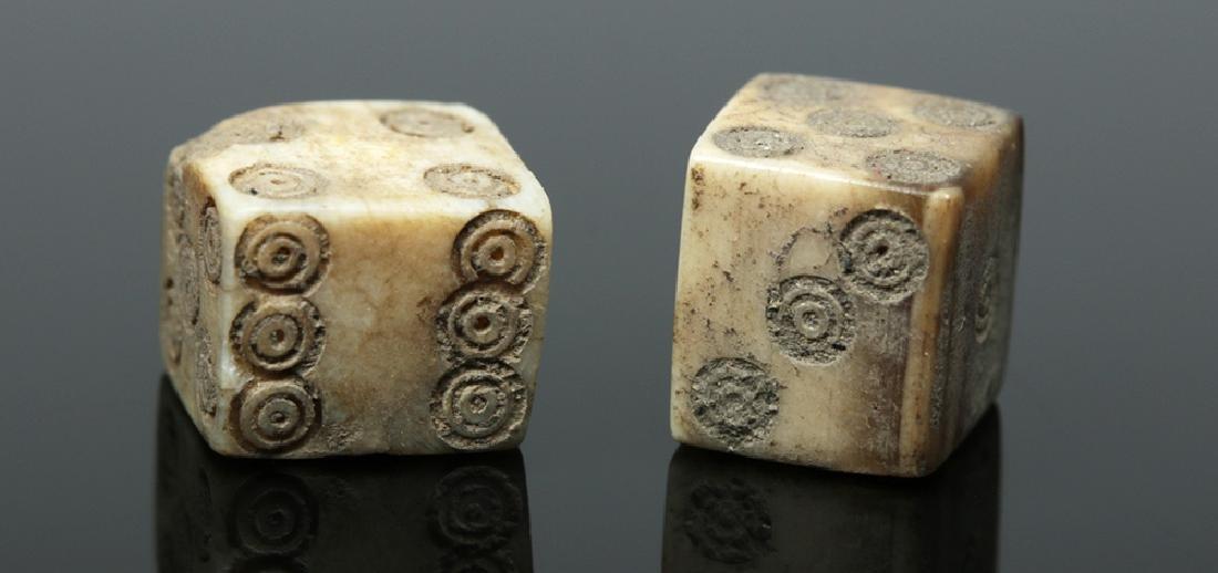 Pair of Roman Bone Gaming Dice - 3