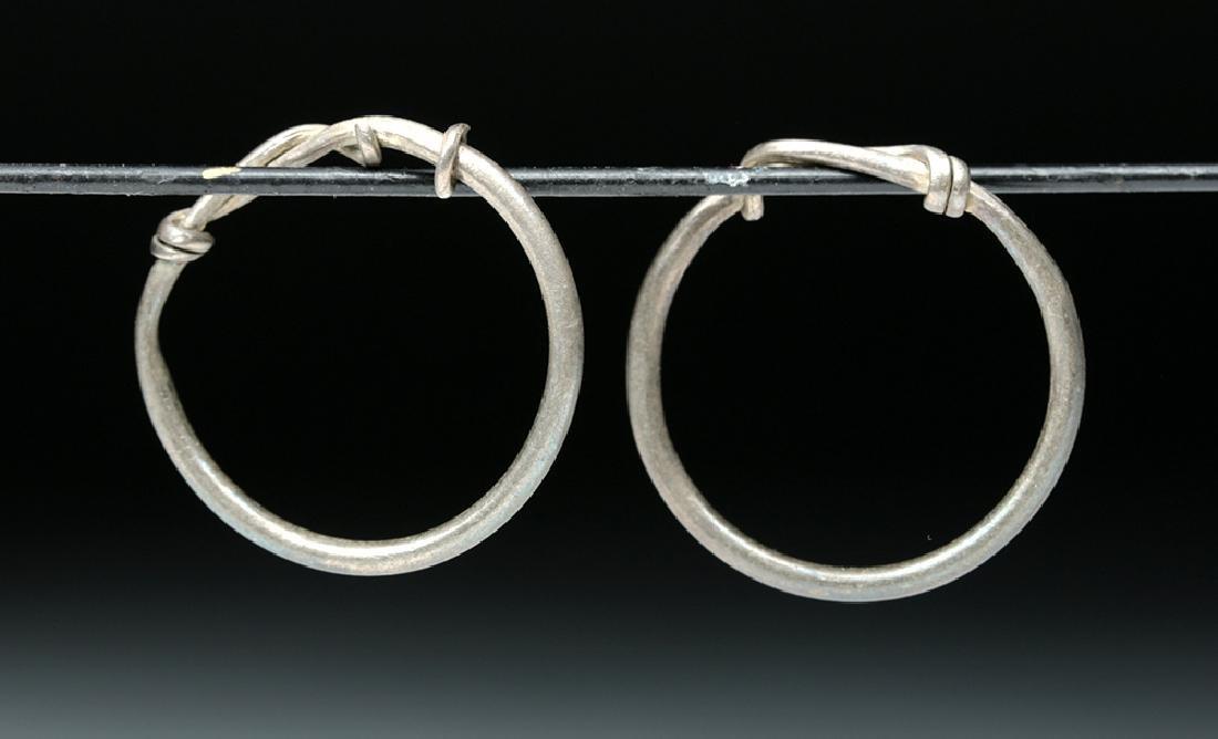 Viking Silver Temple Rings / Hoops (pr) - 3