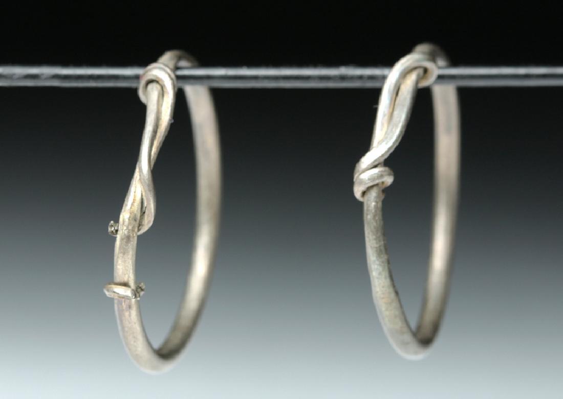 Viking Silver Temple Rings / Hoops (pr) - 4