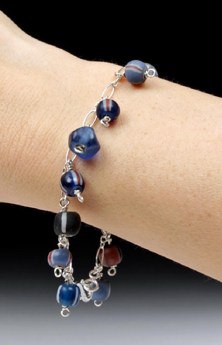 Viking Glass Bead Sterling Silver Charm Bracelet