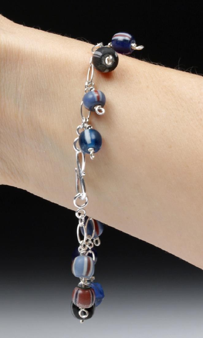 Viking Glass Bead Sterling Silver Charm Bracelet - 2
