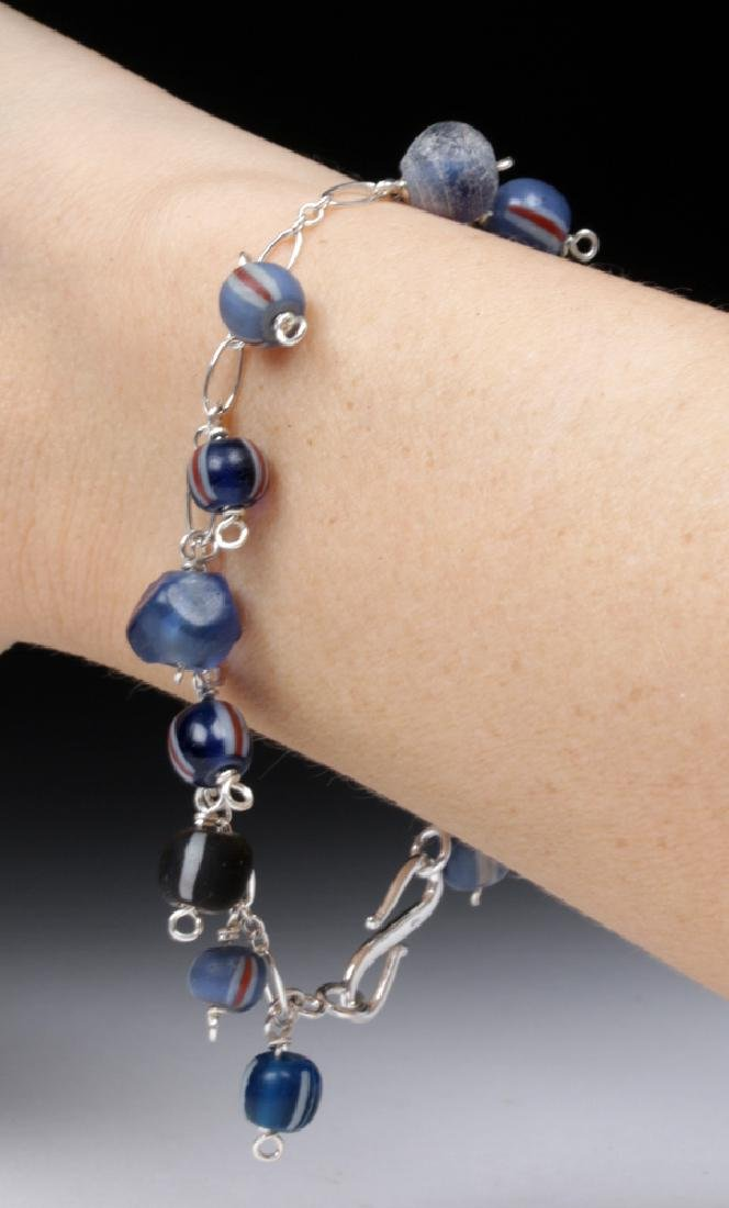Viking Glass Bead Sterling Silver Charm Bracelet - 3