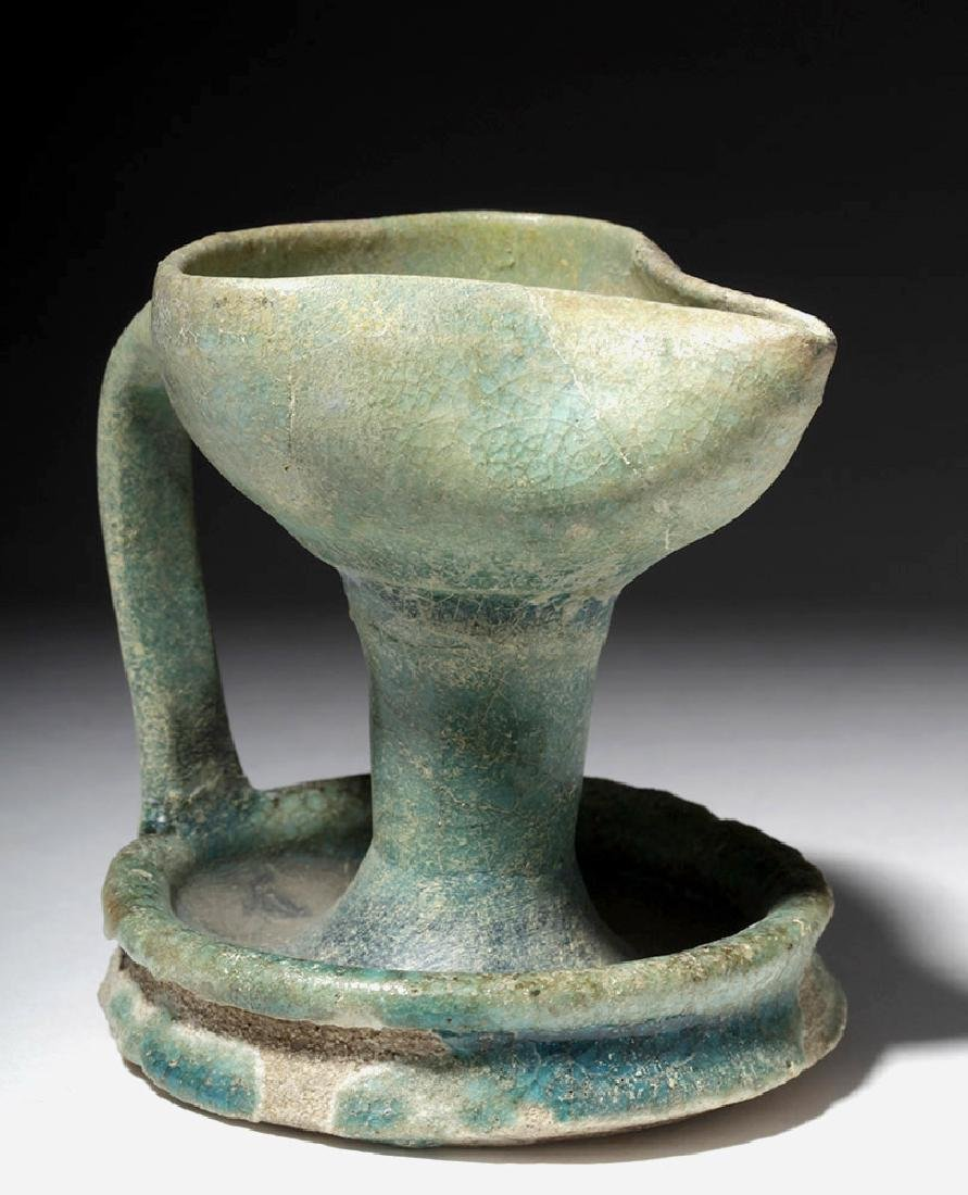 Persian Nishapur Green-Glazed Oil Lamp