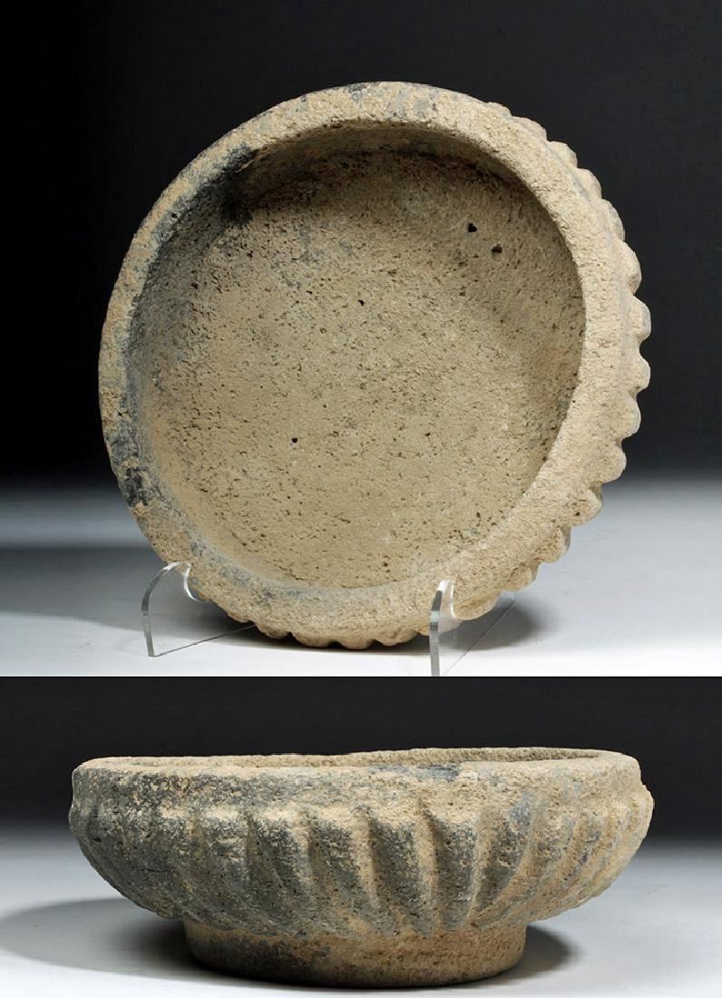 Ancient Bactrian Stone Bowl -  Scalloped Body