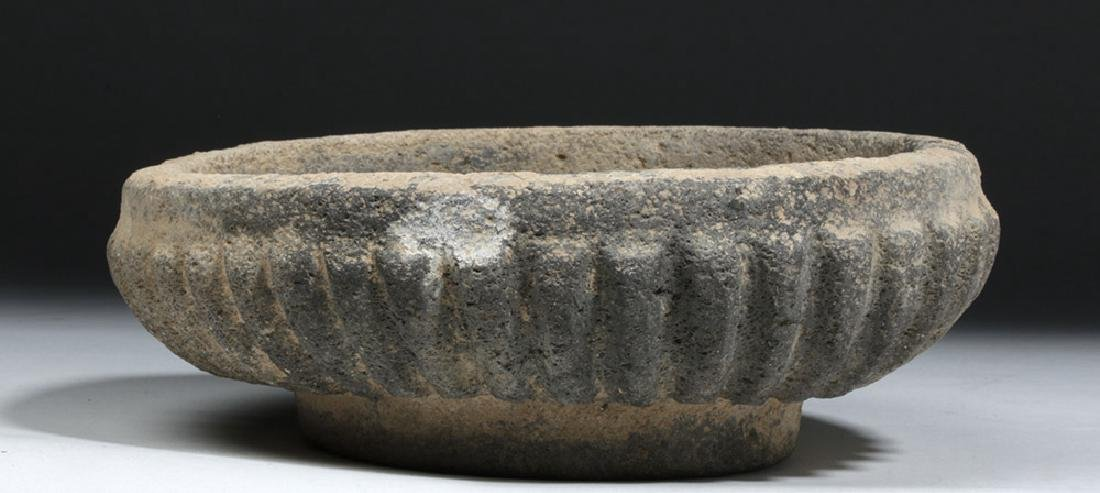 Ancient Bactrian Stone Bowl -  Scalloped Body - 2