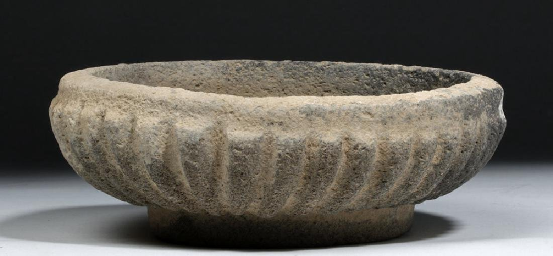 Ancient Bactrian Stone Bowl -  Scalloped Body - 3