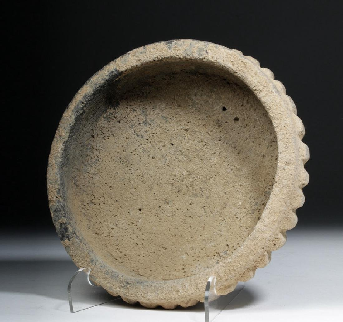 Ancient Bactrian Stone Bowl -  Scalloped Body - 5