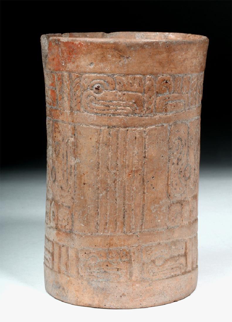 Mayan Pottery Cylinder w/ Impressed Design
