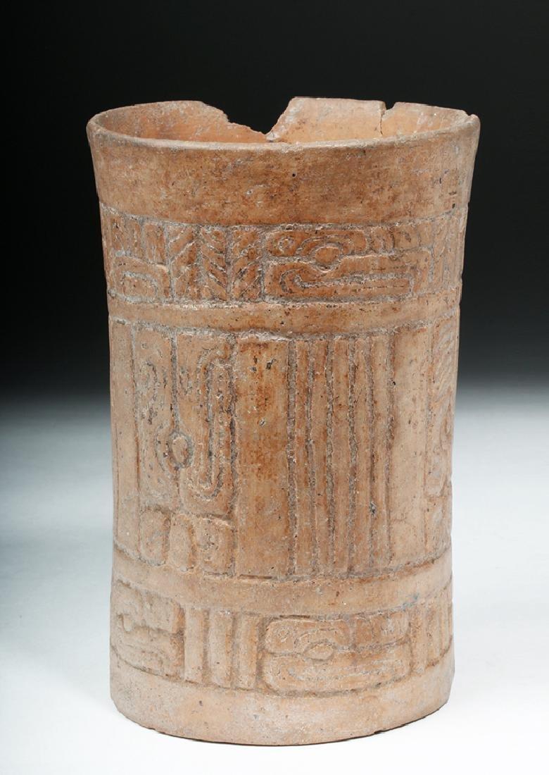 Mayan Pottery Cylinder w/ Impressed Design - 2