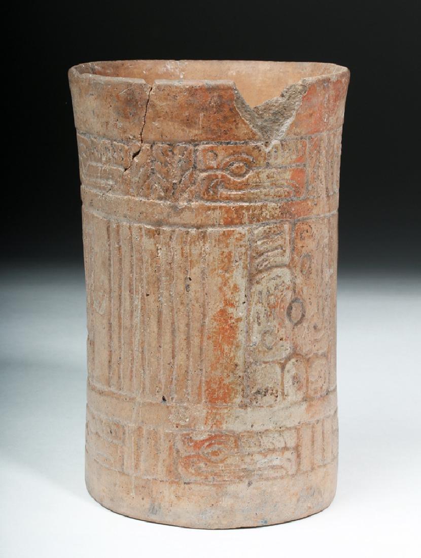 Mayan Pottery Cylinder w/ Impressed Design - 3