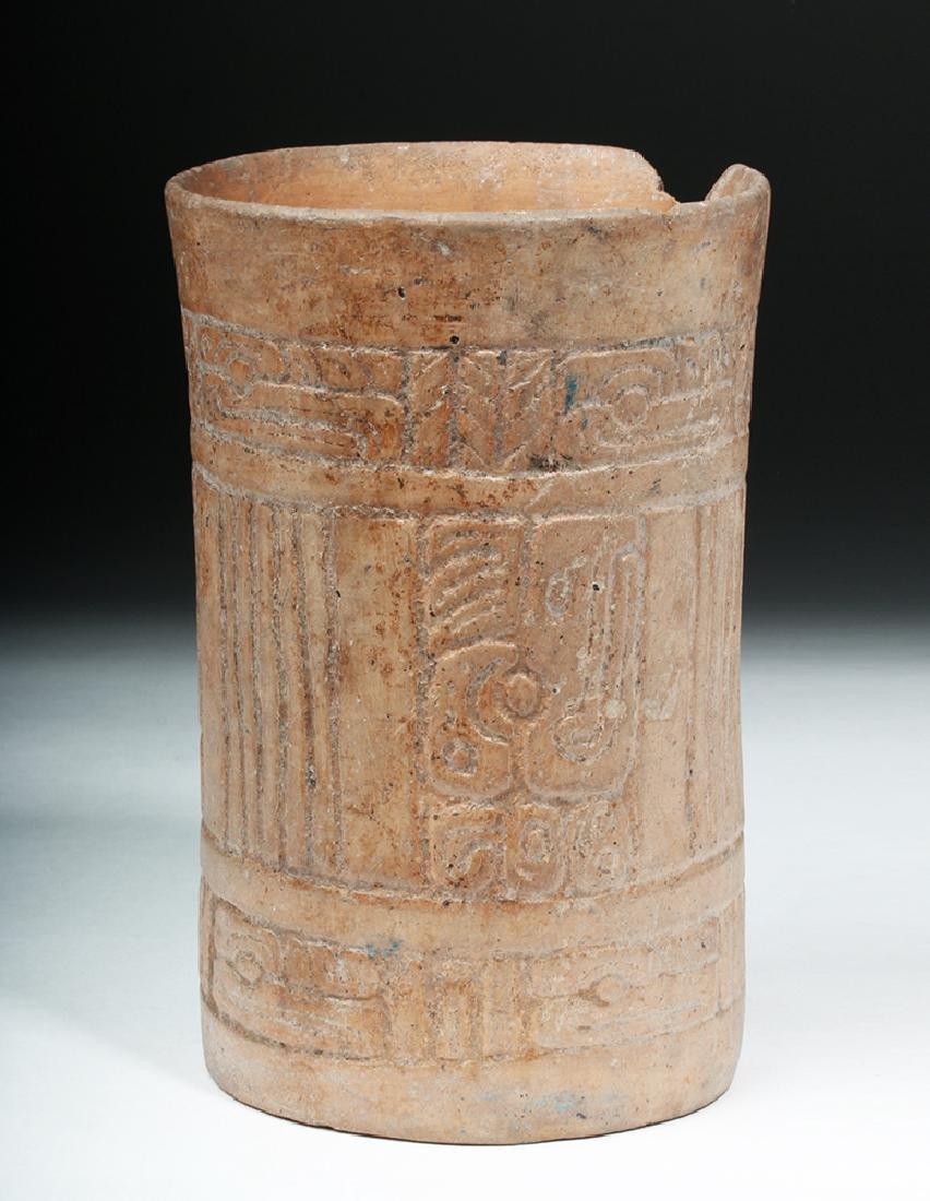 Mayan Pottery Cylinder w/ Impressed Design - 4