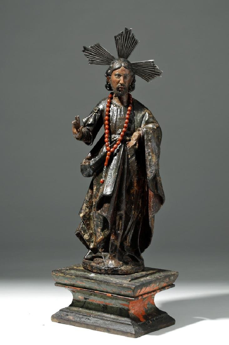 19th C. Mexican Wooden Black-Robed Christ Santo