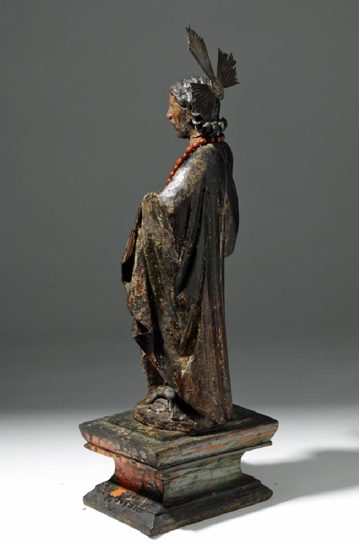 19th C. Mexican Wooden Black-Robed Christ Santo - 2