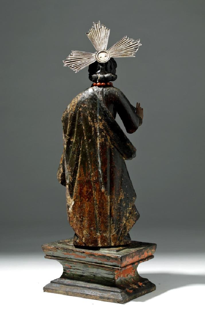 19th C. Mexican Wooden Black-Robed Christ Santo - 3