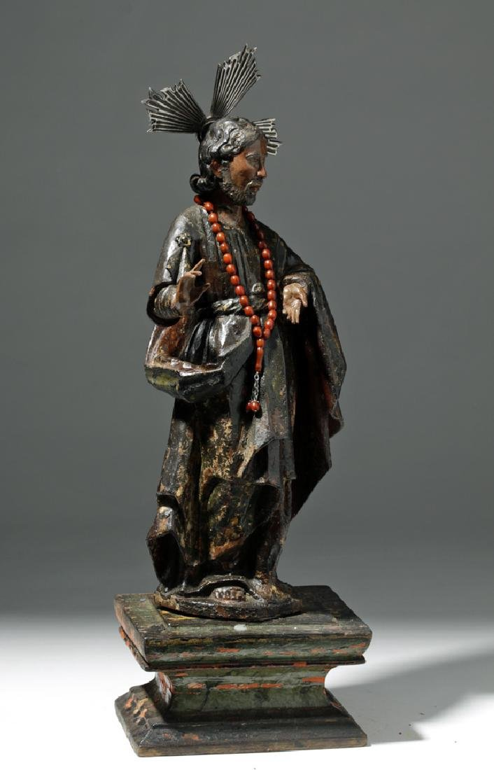 19th C. Mexican Wooden Black-Robed Christ Santo - 4