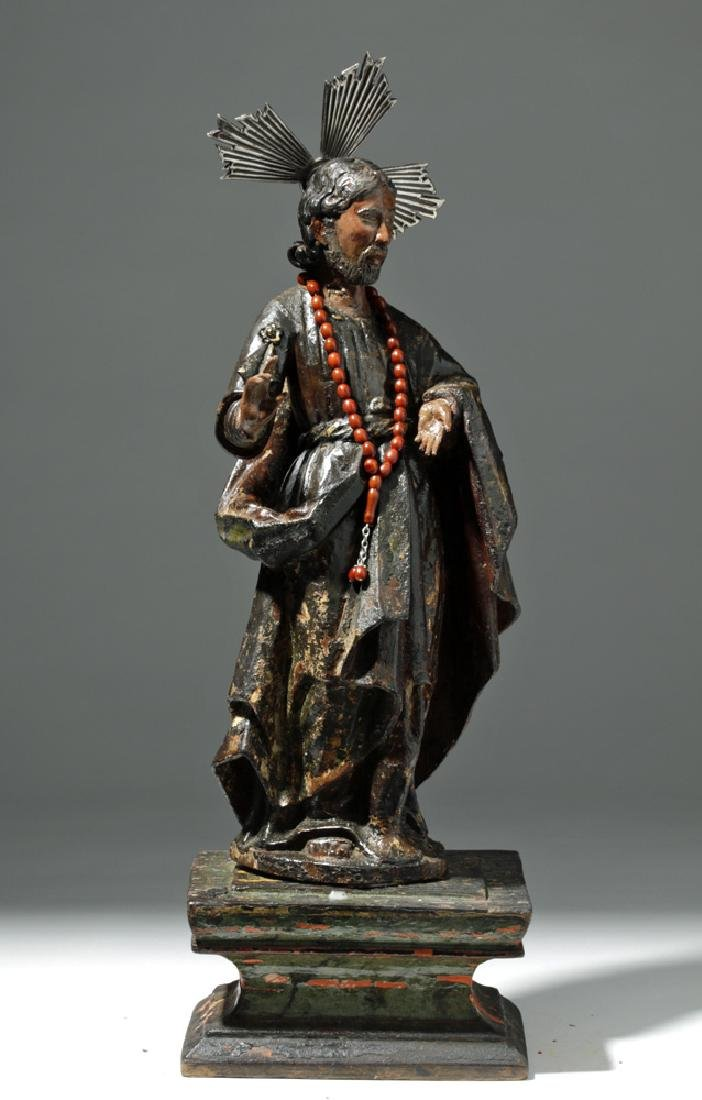 19th C. Mexican Wooden Black-Robed Christ Santo - 5