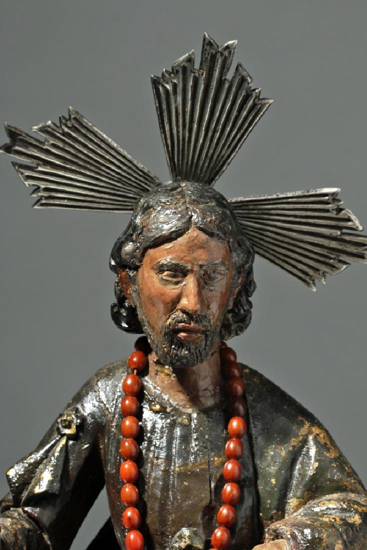 19th C. Mexican Wooden Black-Robed Christ Santo - 6