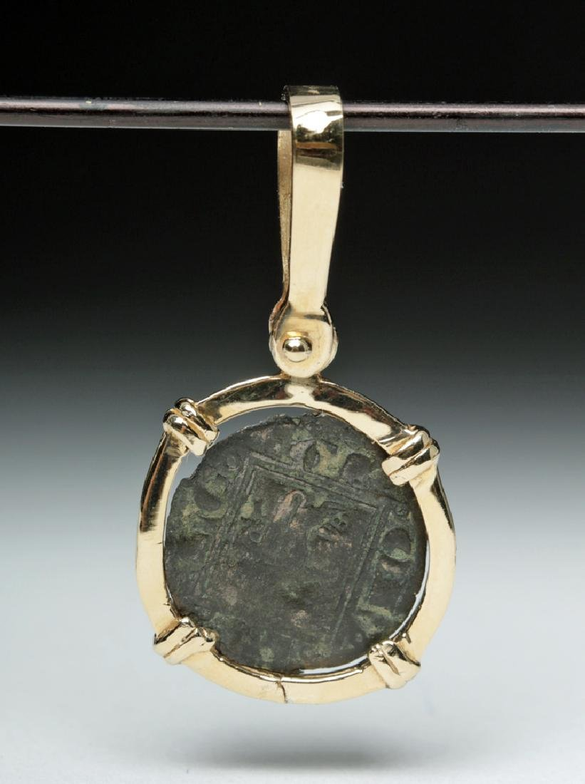 Spanish Medieval Coin Set in 14K Gold Pendant - 2