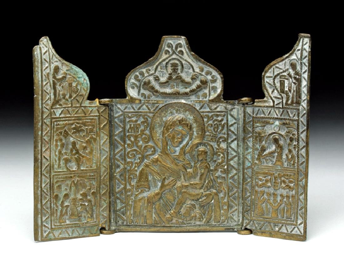 19th C. Russian Brass 3-Panel Traveling Icon