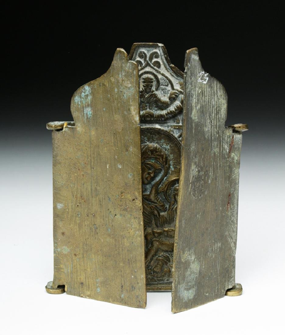 19th C. Russian Brass 3-Panel Traveling Icon - 2