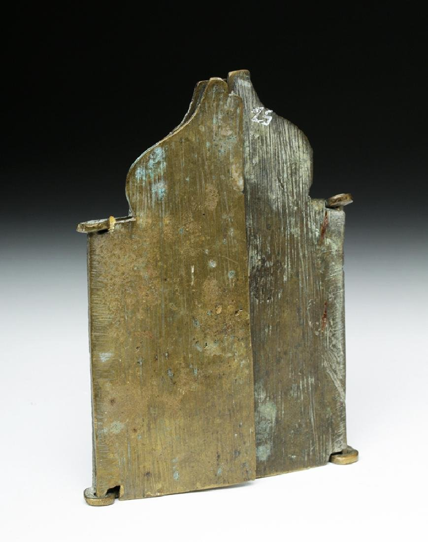 19th C. Russian Brass 3-Panel Traveling Icon - 3