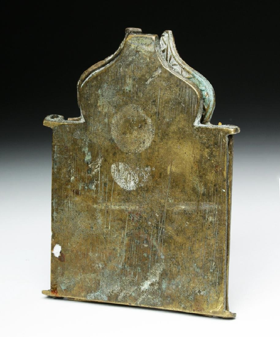 19th C. Russian Brass 3-Panel Traveling Icon - 4