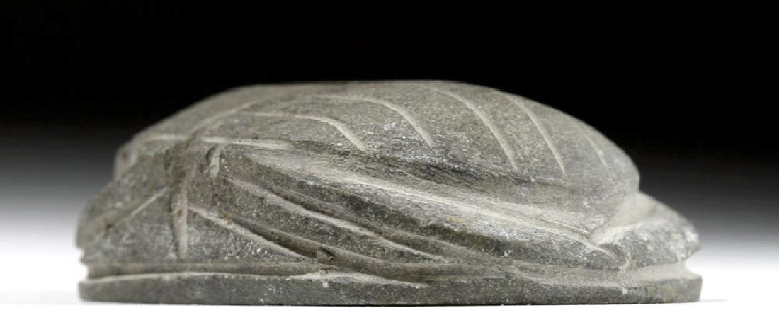 Large Egyptian Basalt Heart Scarab - 4