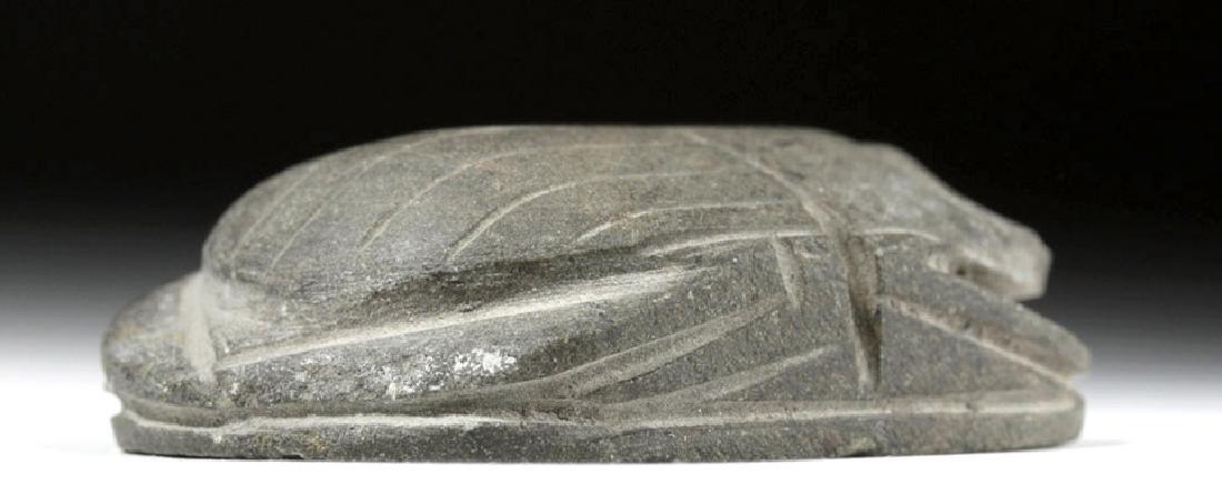 Large Egyptian Basalt Heart Scarab - 5