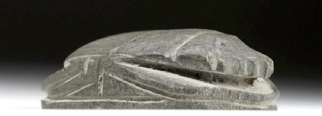 Large Egyptian Basalt Heart Scarab - 6