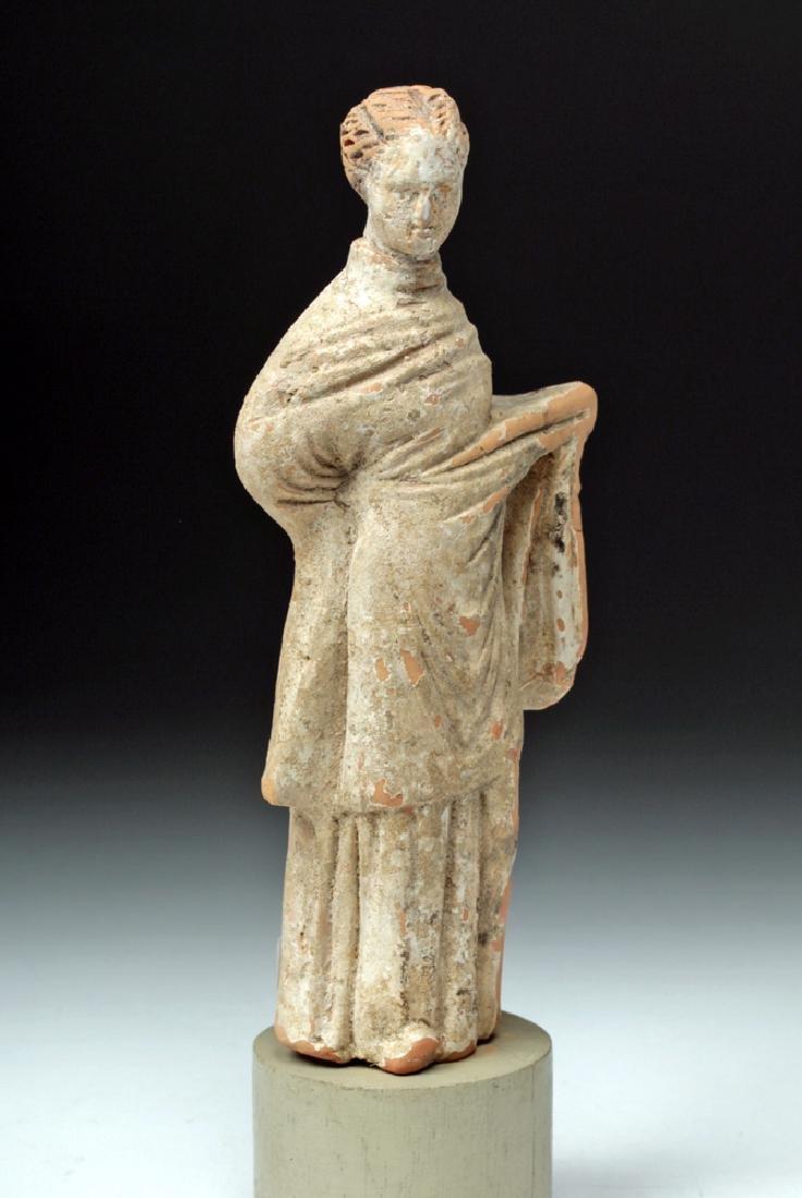 Greek Tanagra Terracotta Votive - Draped Female