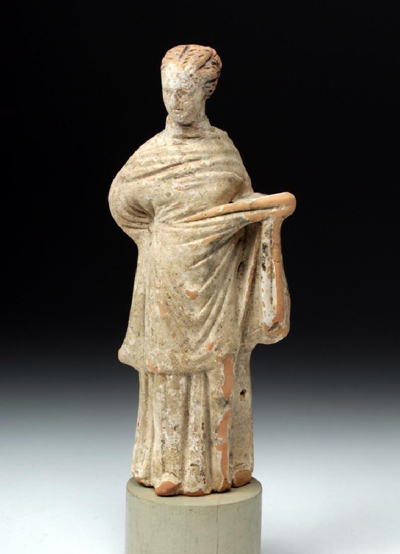 Greek Tanagra Terracotta Votive - Draped Female - 2