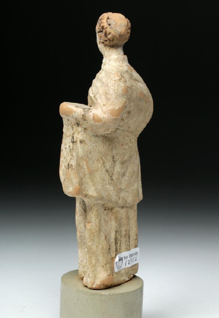 Greek Tanagra Terracotta Votive - Draped Female - 4