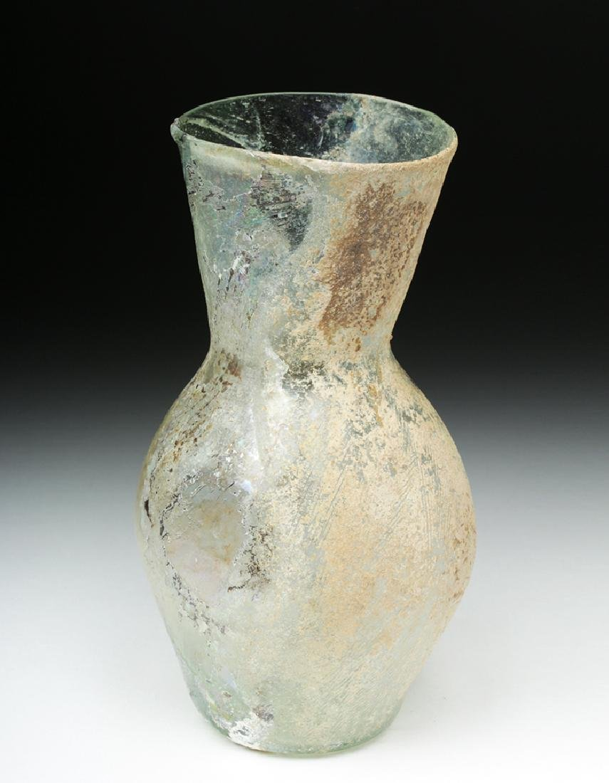 Large Roman Green Glass Vase w/ Wide Mouth - 3