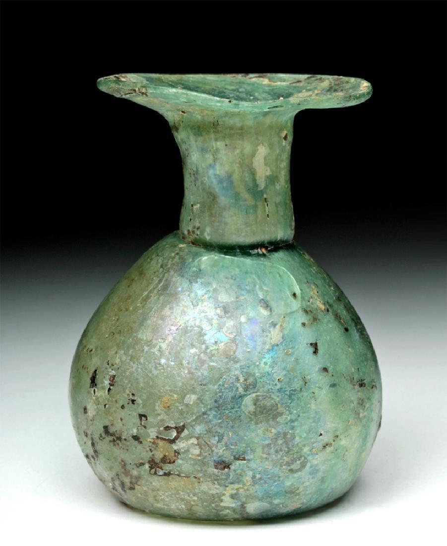 Roman Green Glass Sprinkler Jar - Nice Iridescence!