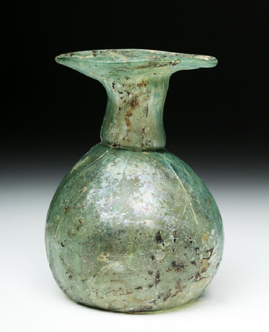 Roman Green Glass Sprinkler Jar - Nice Iridescence! - 2