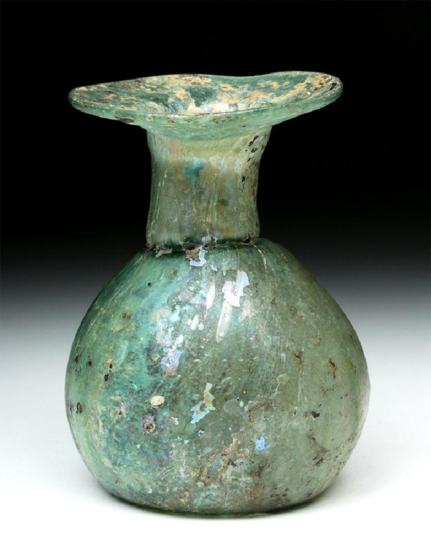 Roman Green Glass Sprinkler Jar - Nice Iridescence! - 3