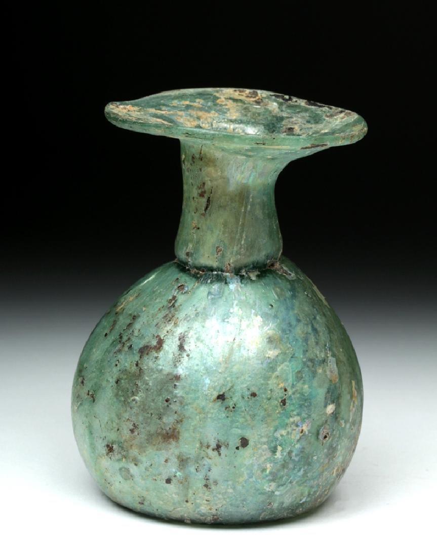 Roman Green Glass Sprinkler Jar - Nice Iridescence! - 4