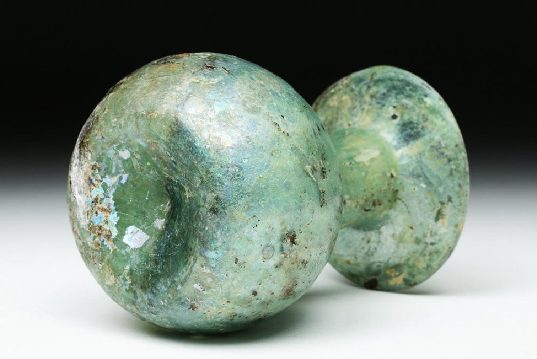 Roman Green Glass Sprinkler Jar - Nice Iridescence! - 6