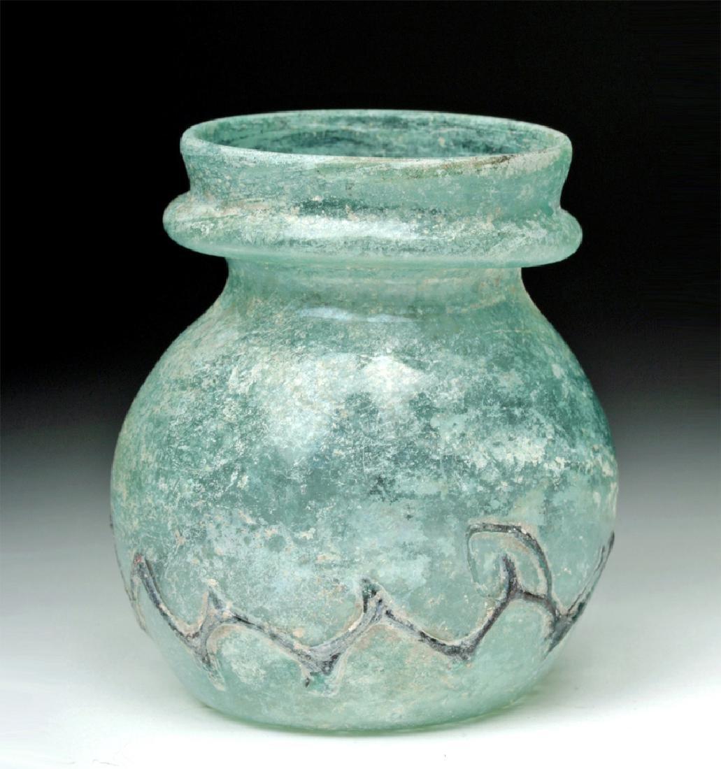 Roman Green Glass Jar w/ Zigzag Glass Trailing