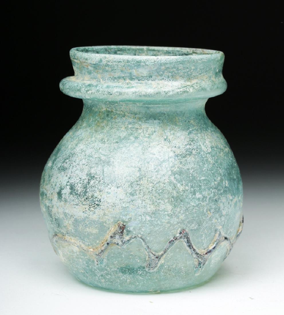 Roman Green Glass Jar w/ Zigzag Glass Trailing - 2