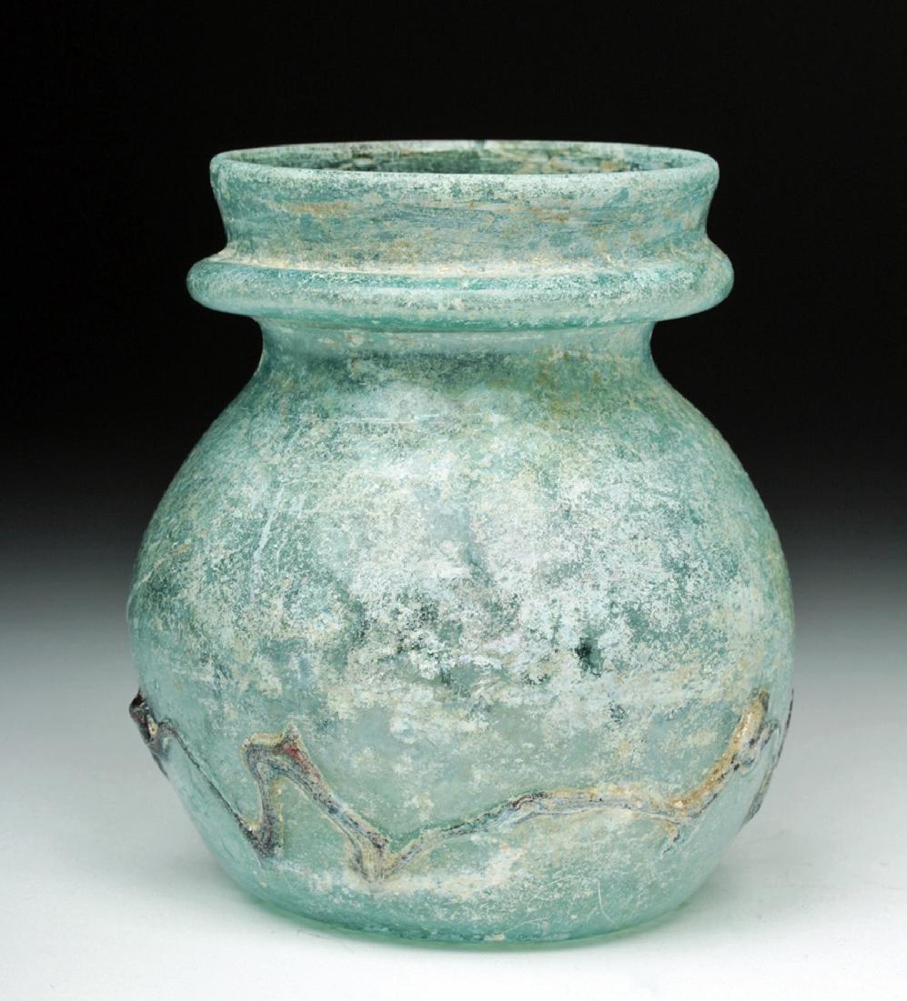 Roman Green Glass Jar w/ Zigzag Glass Trailing - 3