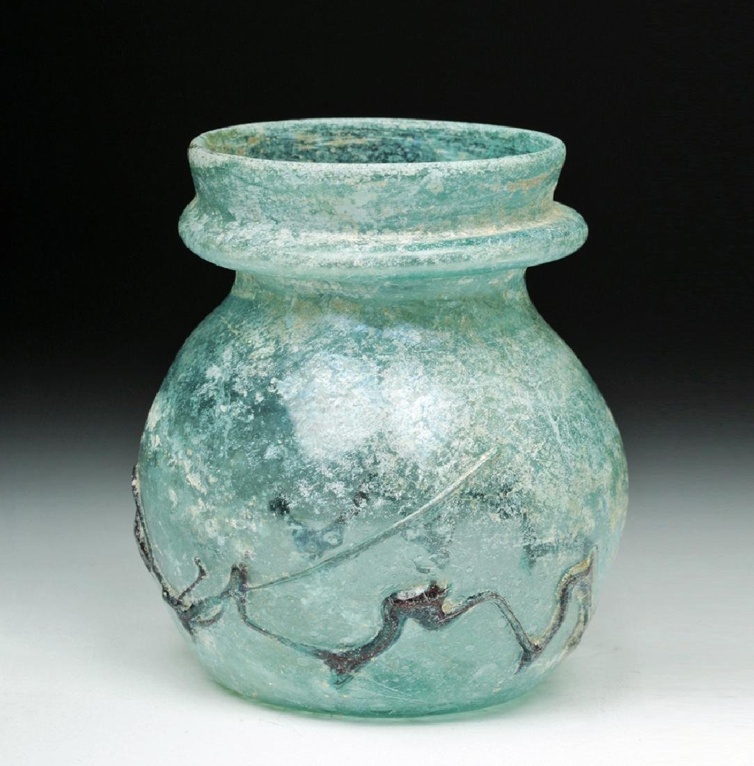 Roman Green Glass Jar w/ Zigzag Glass Trailing - 4