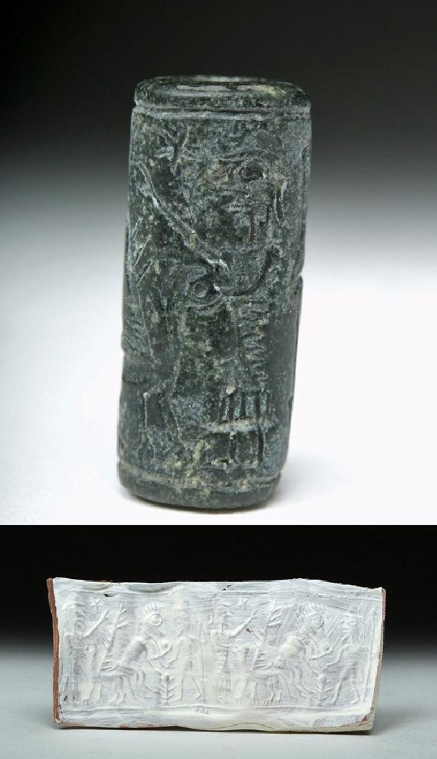 Assyrian Black Stone Cylinder Seal