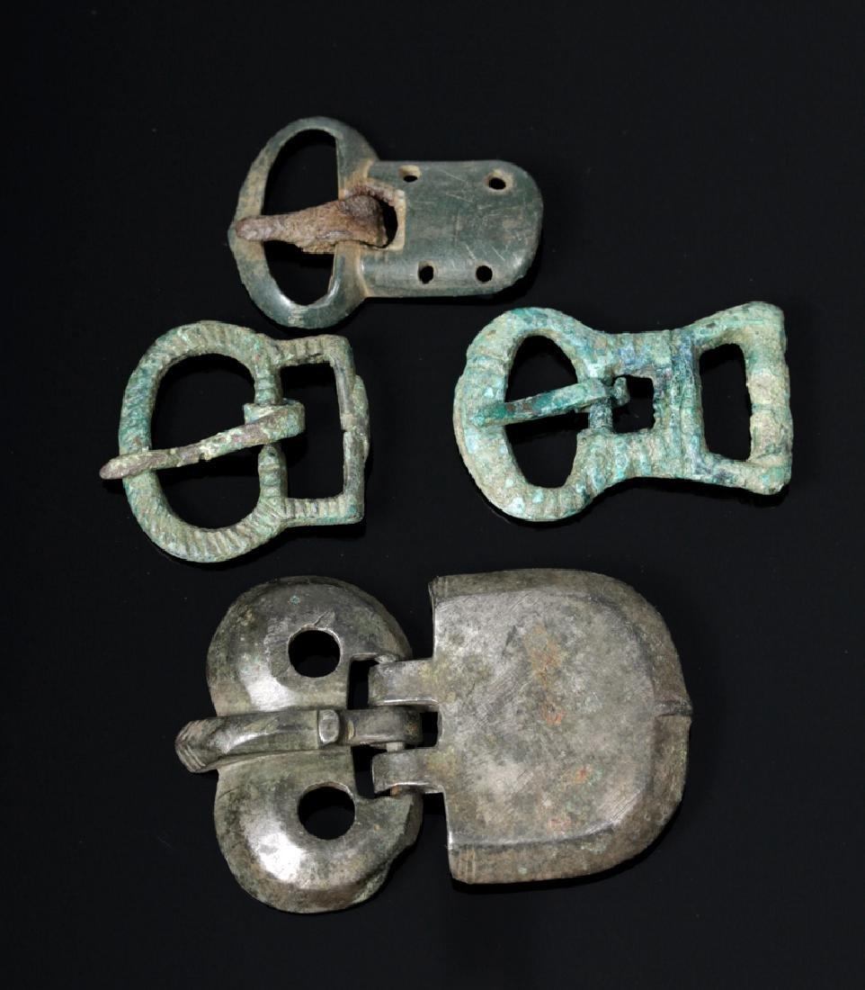 Lot of 4 Viking Bronze Belt Buckles