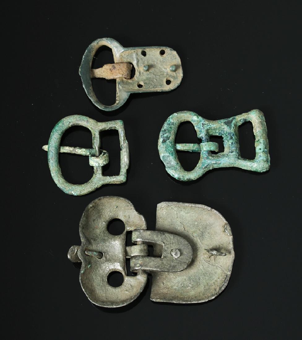 Lot of 4 Viking Bronze Belt Buckles - 2