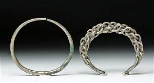 Pair of Viking Silver Bracelets - Braided and Solid